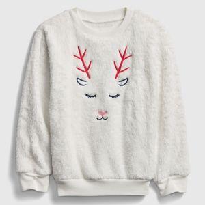 Gap kids white fuzzy deer heart pajama set 4 4T